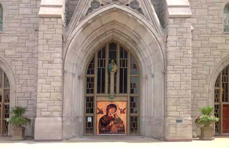 The Icon of Our Lady of Perpetual Help affixed to the doors of Our Lady of Perpetual Help Redemptorist Church in Kansas City.